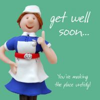 Get Well Soon Card - Nurse Humour One Lump Or Two