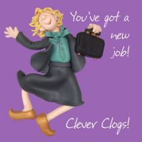 New Job Card - Good Luck Clever Clogs One Lump Or Two