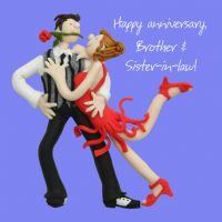 Anniversary Card - Brother & Sister in Law One Lump Or Two