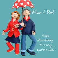 Anniversary Card - Mum & Dad One Lump Or Two