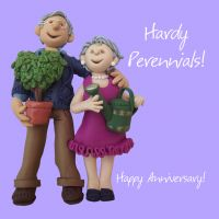 Anniversary Card - Hardy Perennials One Lump Or Two