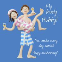 Anniversary Card - Husband Hubby One Lump Or Two