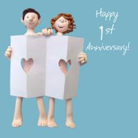 Wedding Anniversary Card - 1st First Paper One Lump Or Two