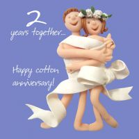 Wedding Anniversary Card - 2nd Second 2 Years Cotton One Lump Or Two