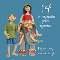 Wedding Anniversary Card - 14th Fourteenth 14 Years Ivory One Lump Or Two