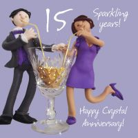 Wedding Anniversary Card - 15th Fifteenth 15 Years Crystal One Lump Or Two
