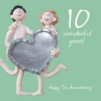 Wedding Anniversary Card - 10th Tenth 10 Years Tin One Lump Or Two