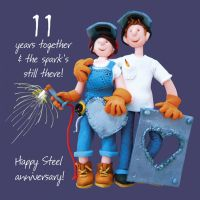 Wedding Anniversary Card - 11th Eleventh 11 Years Steel One Lump Or Two