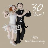 Wedding Anniversary Card - 30th Thirtieth 30 Years Pearl One Lump Or Two