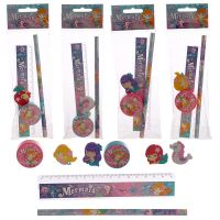 Mermaid 4 Piece Stationary Set - Eraser, Ruler, Pencil
