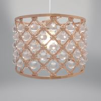 Lampshade - Rose Gold Copper Metal & Droplets Bijou