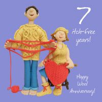 Wedding Anniversary Card - 7th Seventh 7 Years Wool One Lump Or Two