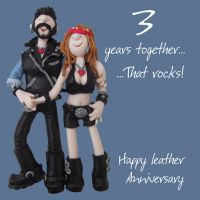Wedding Anniversary Card - 3rd Third 3 Years Leather One Lump Or Two