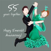 Wedding Anniversary Card - 55th Fifty Five 55 Years Emerald One Lump Or Two