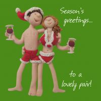 Christmas Card - A Lovely Pair - Couple - One Lump Or Two