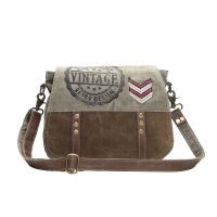 Retro Vintage Military Design Canvas & Leather Messenger Bag