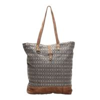 Honey Bee Canvas & Leather Tote Shopper Handbag