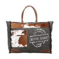 Grey Canvas & Cowhide Handmade Weekend Overnight Large Bag