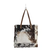 Cowhide Front Pocket Tote Shopper Handbag