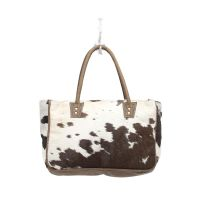 Bucket Cowhide Brown, Black, White Daily Essentials Handbag