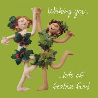Christmas Card - Festive Fun Holly - Funny Humour One Lump Or Two