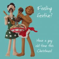 Christmas Card - Feeling Festive Gay Couple - Funny Humour One Lump Or Two