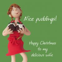 Christmas Card - Wife Nice Puddings - Funny Humour One Lump Or Two