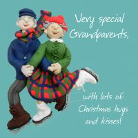 Christmas Card - Grandparents, - Funny Humour One Lump Or Two