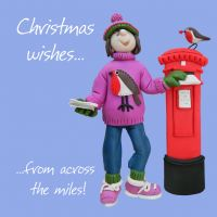 Christmas Card - From Across the Miles - Funny Humour One Lump Or Two