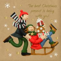 Christmas Card - Best Christmas Present is Being with You - Three French Hens