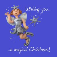 Christmas Card - Magical Fairy - Funny Humour One Lump Or Two