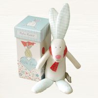 Rabbit Rattle in a Box - Baby Boy Gift - Rufus Rabbit