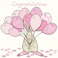 New Baby Card - Congratulations Baby Girl Christening - Rufus Rabbit