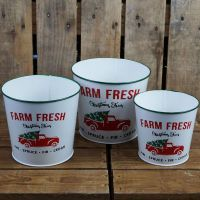 Christmas Zinc Metal Planters Pots Farm Fresh Xmas Trees - Set of 3 - 3 Sizes