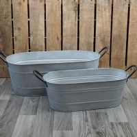 Zinc Metal Oval Garden Planter Trough With Handles - 2 Sizes