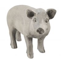 Grey Decoration Pig Statue - Poly Resin - Clayre & Eef