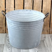 Zinc Metal Extra Large Round Garden Planter with Handles