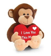 Monkey Soft Toy With Red Heart 30cm - I Love You This Much