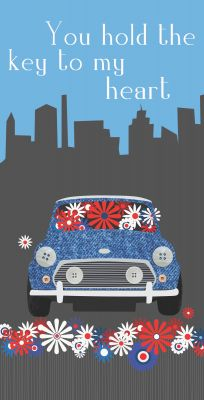 Greetings Card - Mini Cooper - Key To My Heart - Arty Penguin
