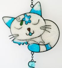 Japanese Sleeping Cat Garden Wind Chime