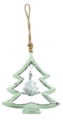Green & Silver Metal Christmas Tree Decoration