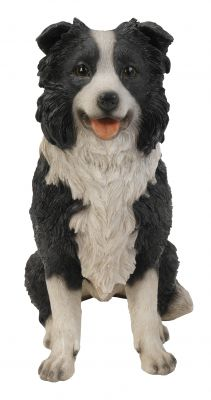 Sheepdog Collie Dog - Sitting Lifelike Garden Ornament - Indoor or Outdoor - Real Life