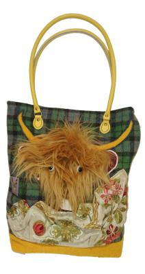 Scottish Highland Cow Mustard Handmade Handbag