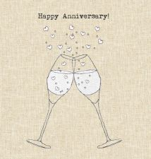 Happy Wedding Anniversary Card - Champagne Glasses