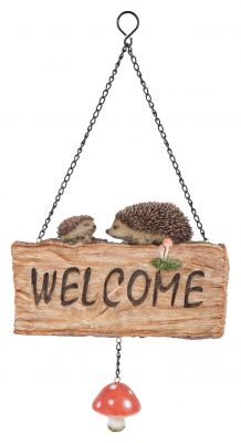 Hedgehog Welcome Sign - Hanging - Garden Friends