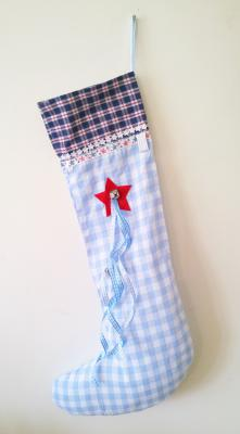 Christmas Blue Gingham Stocking with Bell Detail