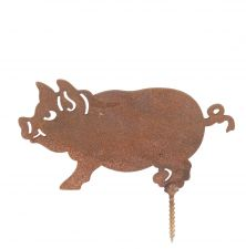 Pig - Rusty Revival Garden Fence Decoration