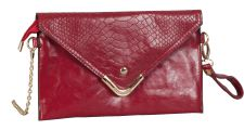 Red Leather Clutch Hand Bag