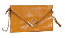 Mustard Leather Clutch Hand Bag