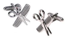 Barber Hairdresser Comb Scissors Cufflinks